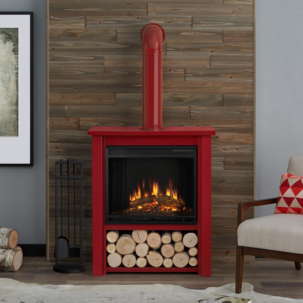 Real Flame Hollis 32 in Freestanding Electric Fireplace in Red5005ER  The Home Depot