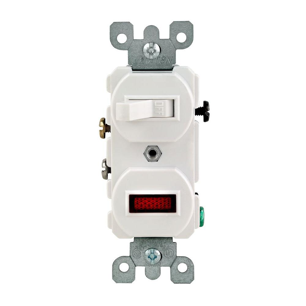 hight resolution of leviton 1 25w 125v combination switch with neon pilot light white