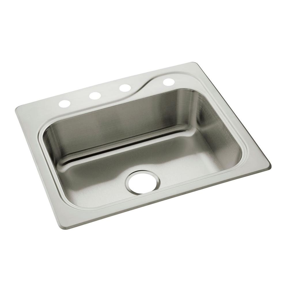 cheap kitchen sink designer wall tiles sterling southhaven drop in stainless steel 22 4 hole single bowl