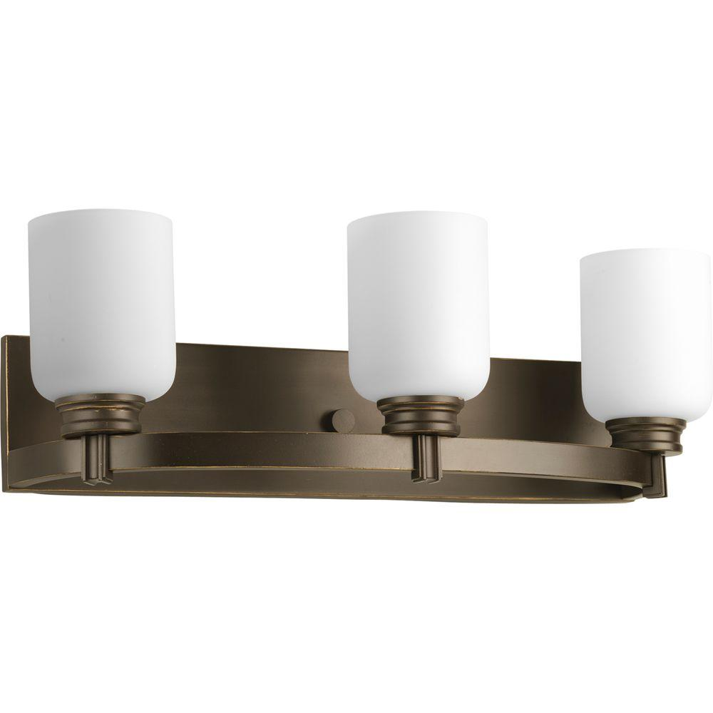 Bathroom Light With Outlet Progress Lighting Orbit Collection 3 Light Antique Bronze Bathroom Vanity Light With Glass Shades