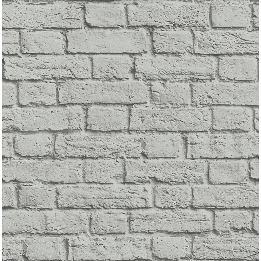 Brewster 56.4 sq. ft. Cologne Grey Painted Brick Wallpaper