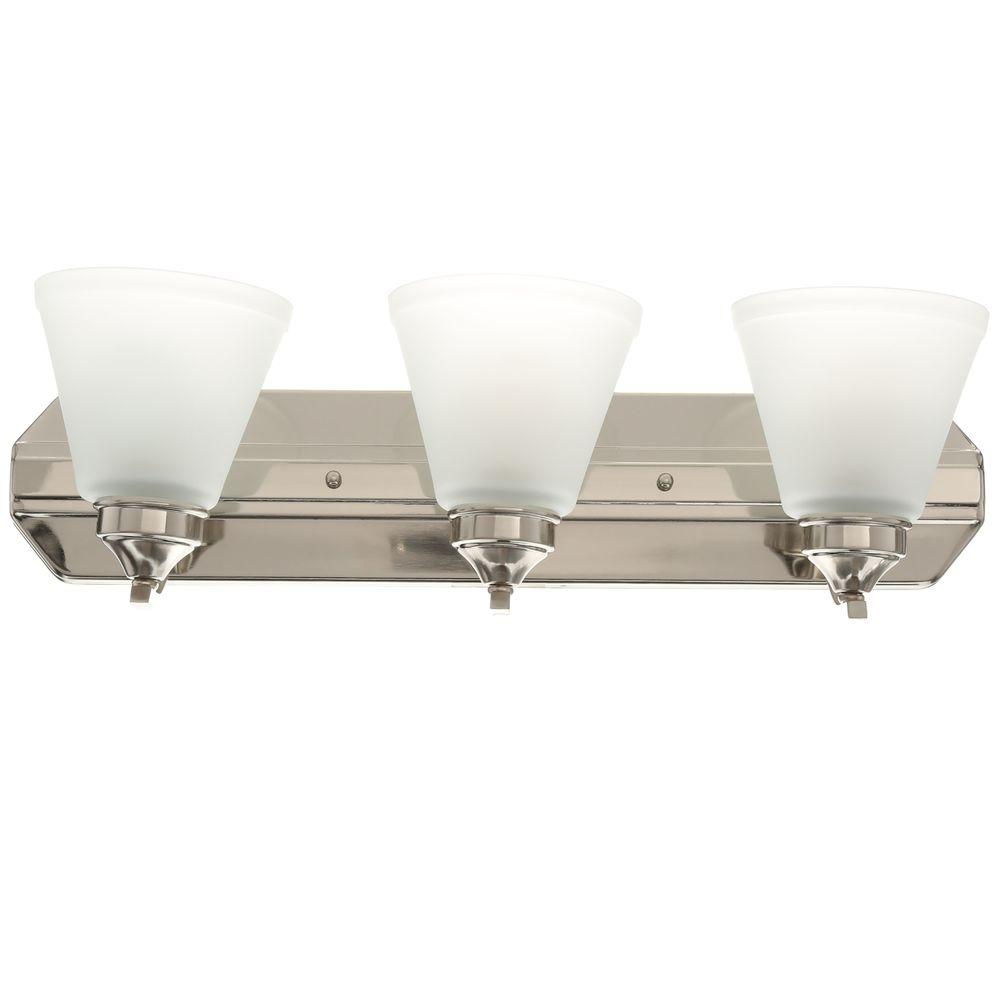 Bathroom Light Fixtures Hampton Bay 3 Light Brushed Nickel Vanity Light With Frosted Shades