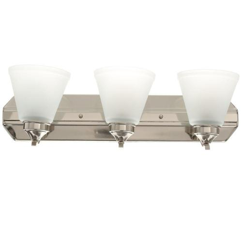 small resolution of hampton bay 3 light brushed nickel vanity light with frosted shades
