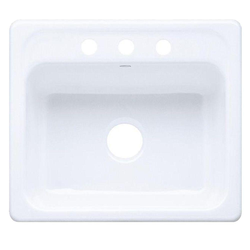 cast iron kitchen sinks large island for sale kohler mayfield drop in 25 3 hole single bowl sink white