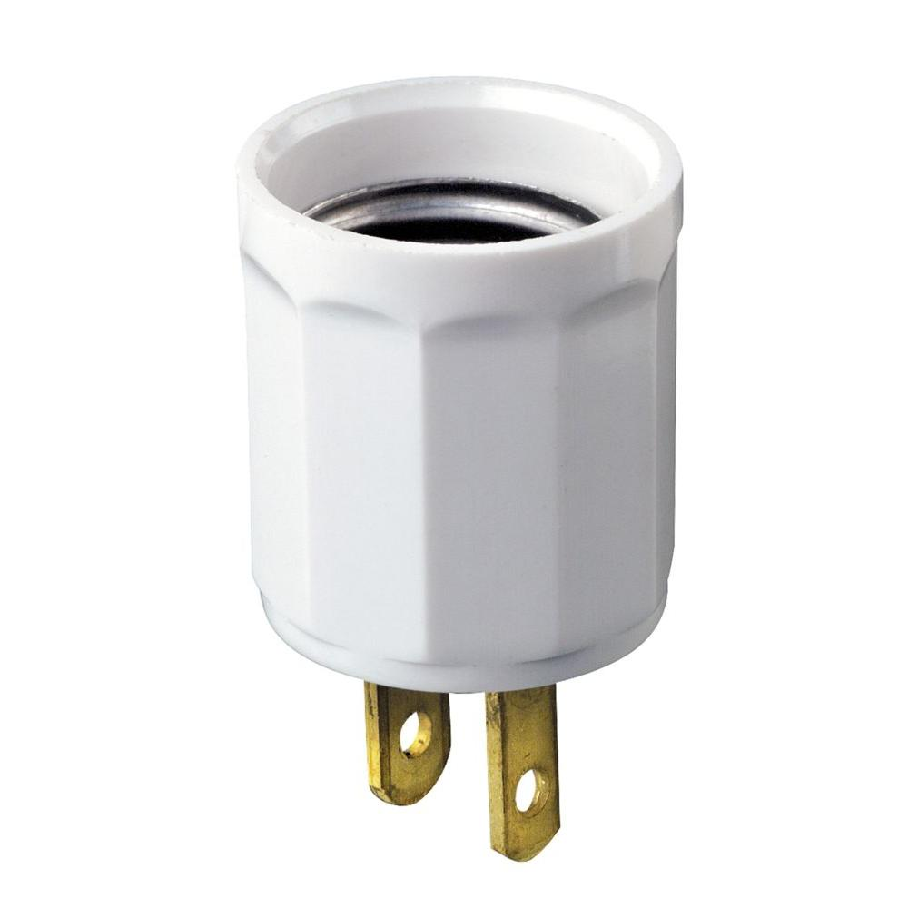 Leviton OutlettoSocket Light Plug WhiteR520006100W