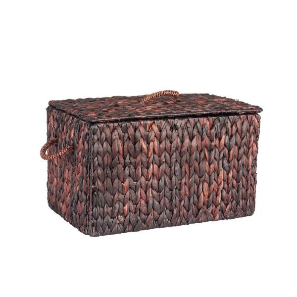 Household Essentials 20 In X 12.2 Water Hyacinth Kd Small Rectangular Chest Dark Box With Lid