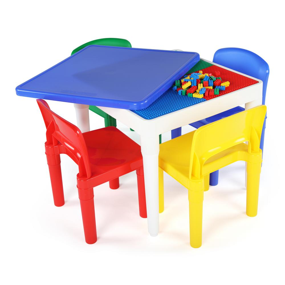 tot tutors table and chairs lift recliner chair warranty playtime 5 piece 2-in-1 plastic lego-compatible kids activity 4-chairs set ...