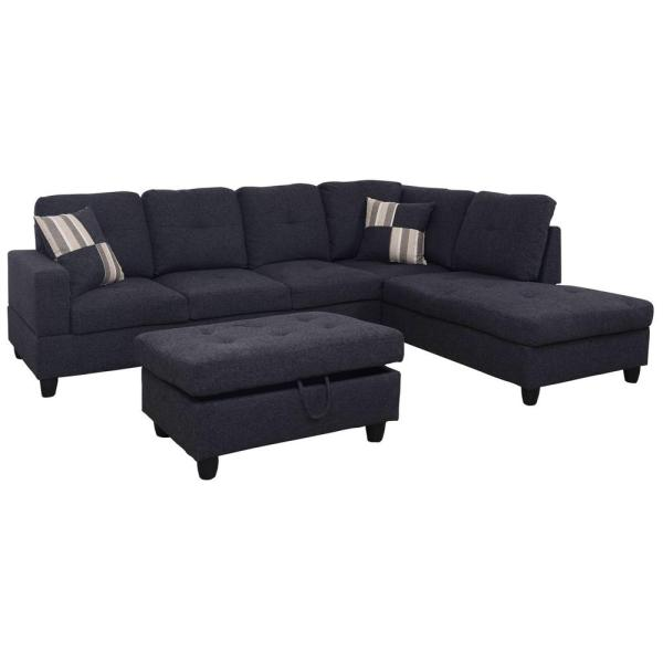 Flash Furniture Riverstone Implosion Black Velvet Sectional-rs412406sec - Home Depot