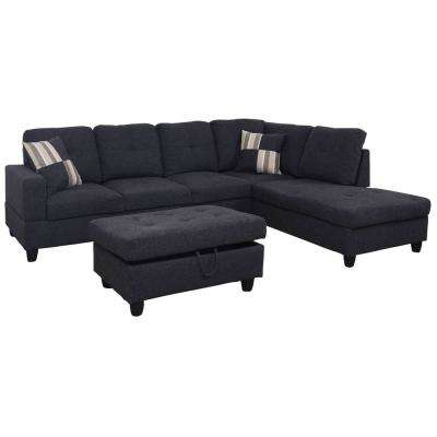 gray sofa with chaise lounge beds faux leather uk left facing sectionals living room furniture the home depot black microfiber sectional storage ottoman