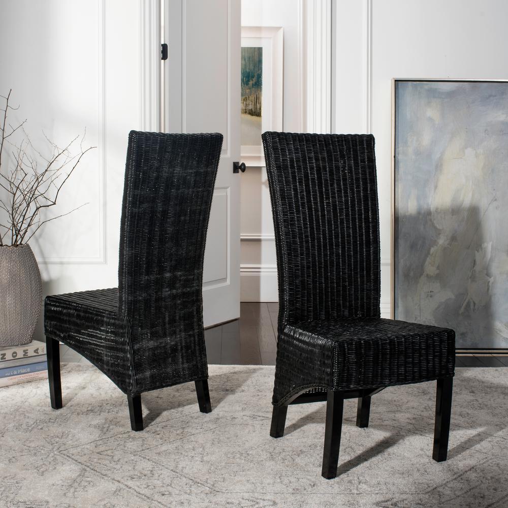 Safavieh Siesta Black Wicker Side Chair Set of 2