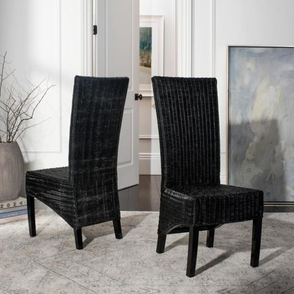 Black Wicker Rattan Dining Chairs