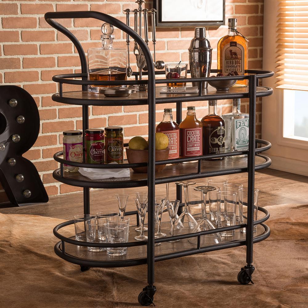 kitchen serving cart gray floor tile baxton studio karlin black and medium brown wine 28862 6647 hd the home depot