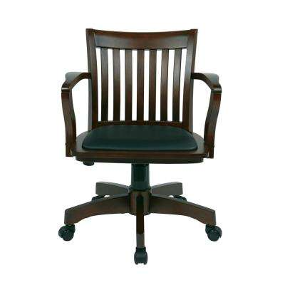 revolving chair assembly lazyboy accessories yes office desk wood chairs home espresso brown bankers with padded seat