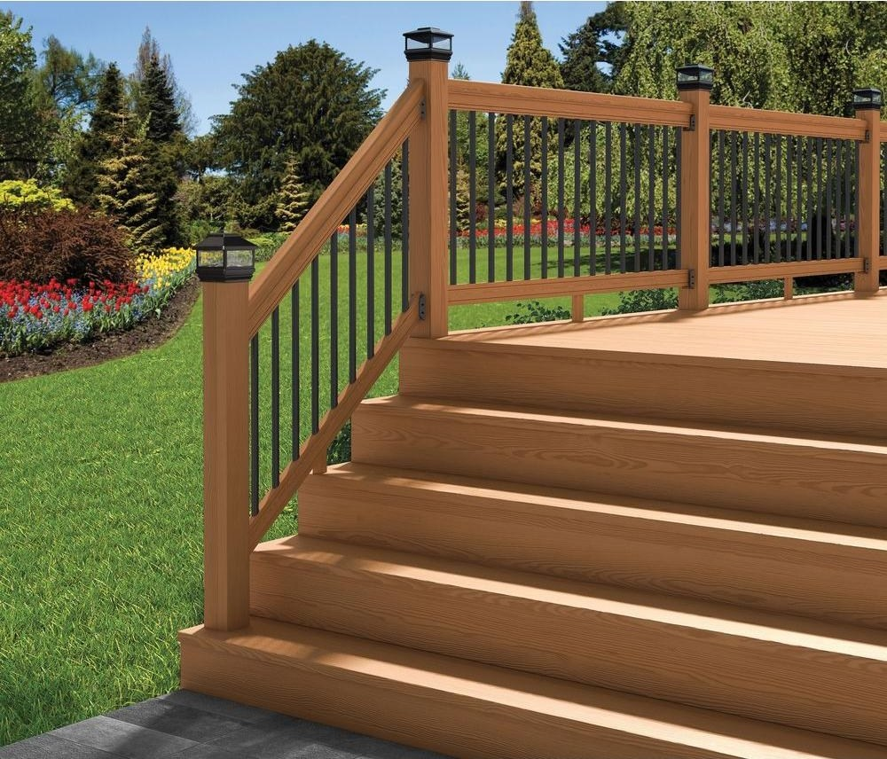 Deckorail Pressure Treated 6 Ft Cedar Tone Stair Deck Railing Kit   Wood Railing With Metal Balusters   Metal Baluster Drywall   Modern   Tree Branch Iron   Before And After   Deck