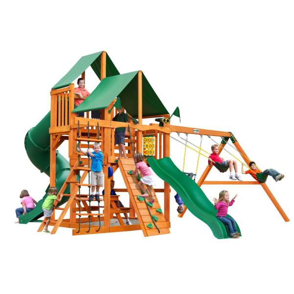Gorilla Playsets Great Skye Wooden Playset With Green Vinyl Canopy And 2 Slides-01-0030-ap-1