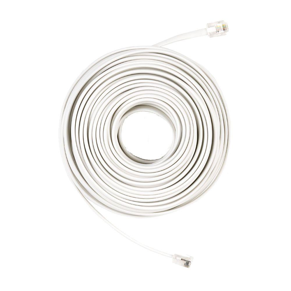 Commercial Electric 50 ft. Telephone Line Cord, White-50FT