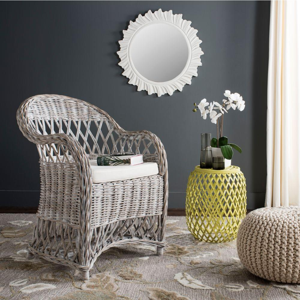 Rattan Accent Chair Safavieh Inez White Wash Rattan Arm Chair