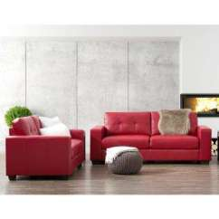 Red Living Room Set Lime Green Wallpaper Sets Furniture The Home Depot Club 2 Piece Tufted Bonded Leather Sofa