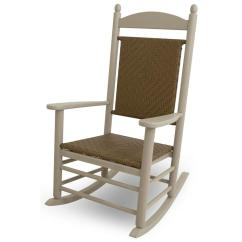 Woven Rocking Chair Cj Tables And Chairs Polywood Jefferson Sand All Weather Plastic Outdoor Rocker With Tigerwood Weave