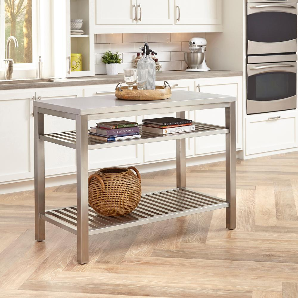 Home Styles Brushed Satin Stainless Steel Kitchen Island 5617 94