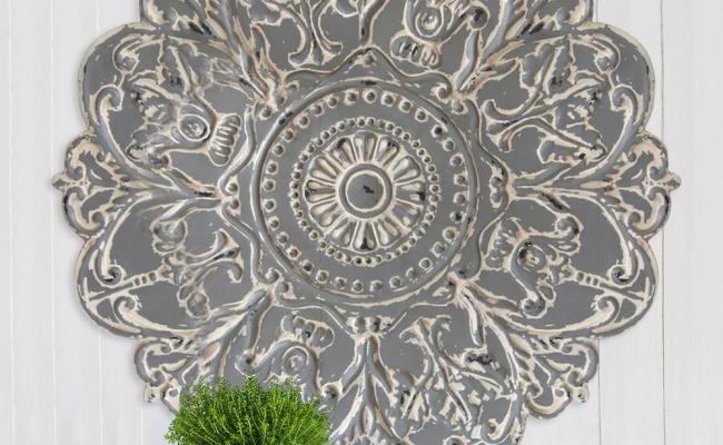 Stratton Home Decor Grey Metal Medallion Wall Decor S07730