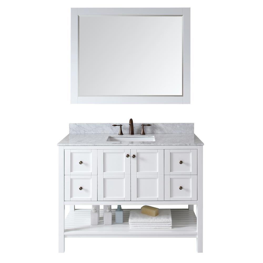 virtu usa winterfell 49 in w bath vanity in white with marble vanity top in