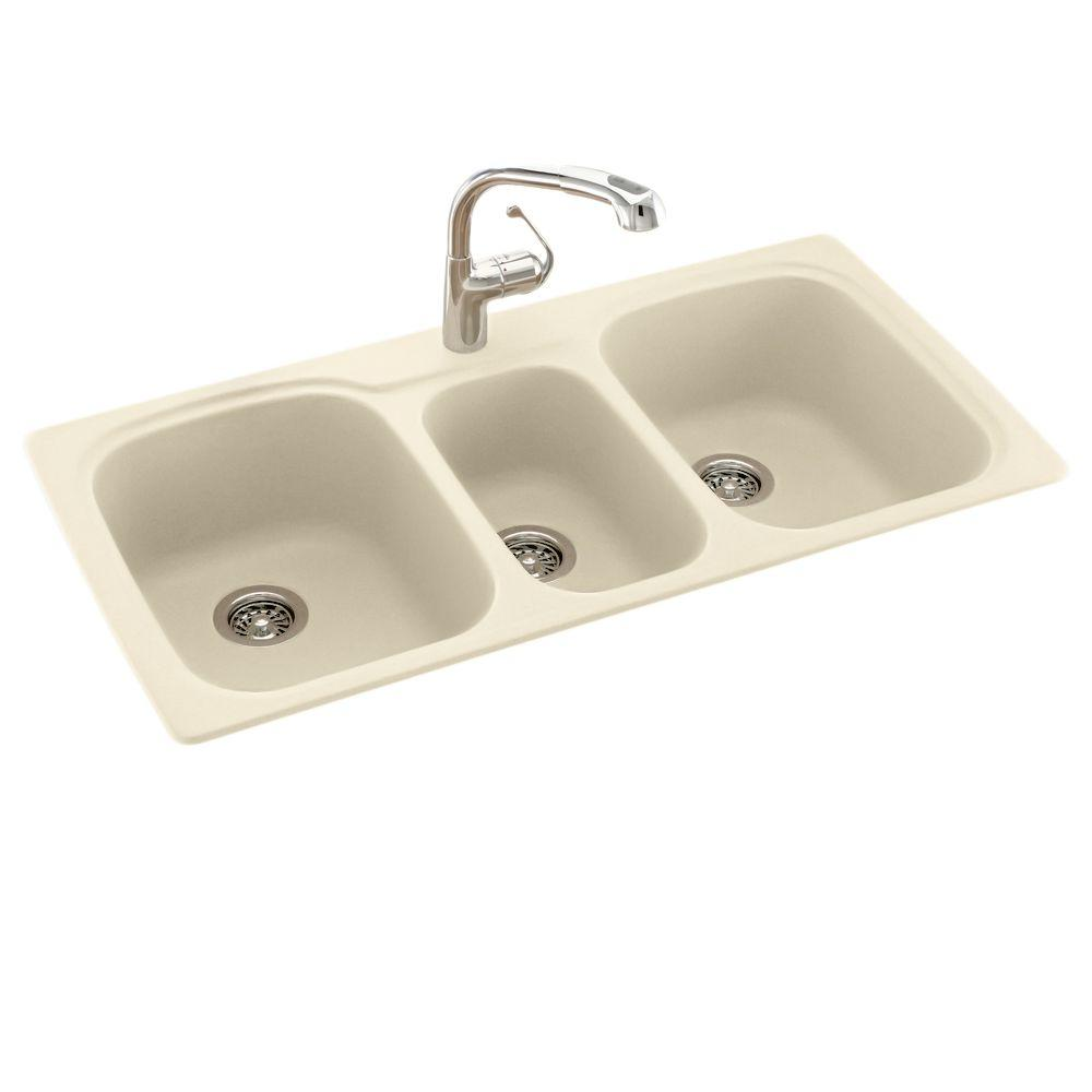 3 basin kitchen sink coffee themed rugs swan drop in undermount solid surface 44 1 hole 40 20 triple bowl bone