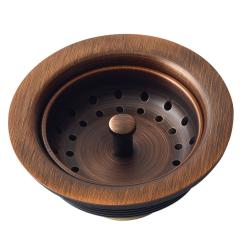Kitchen Sink Drain Setup Ideas Sinkology 3 5 In Strainer With Post Styled Basket Antique Copper