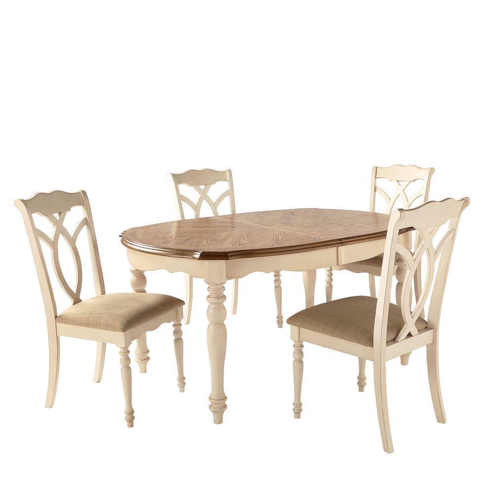 HomeSullivan Rosemont 5Piece Antique White Dining Set