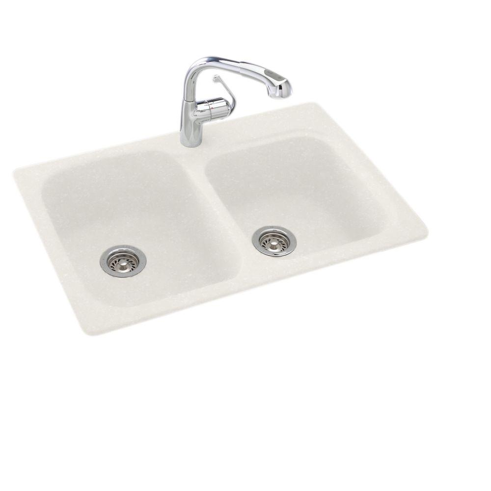 swanstone single bowl kitchen sink appliances brands swan dual mount composite 33 in. 1-hole double ...