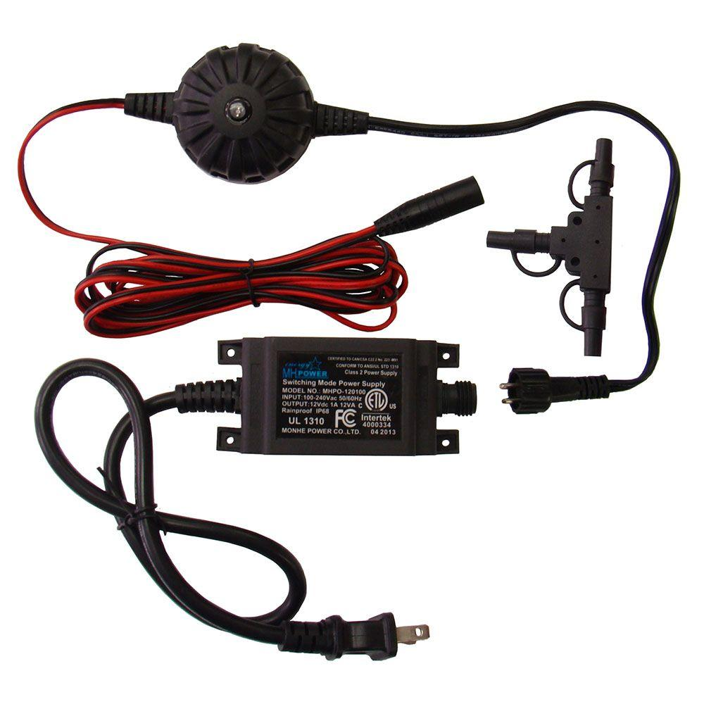 medium resolution of 12 watt low voltage outdoor transformer with 9 ft harness wire and t connector kit