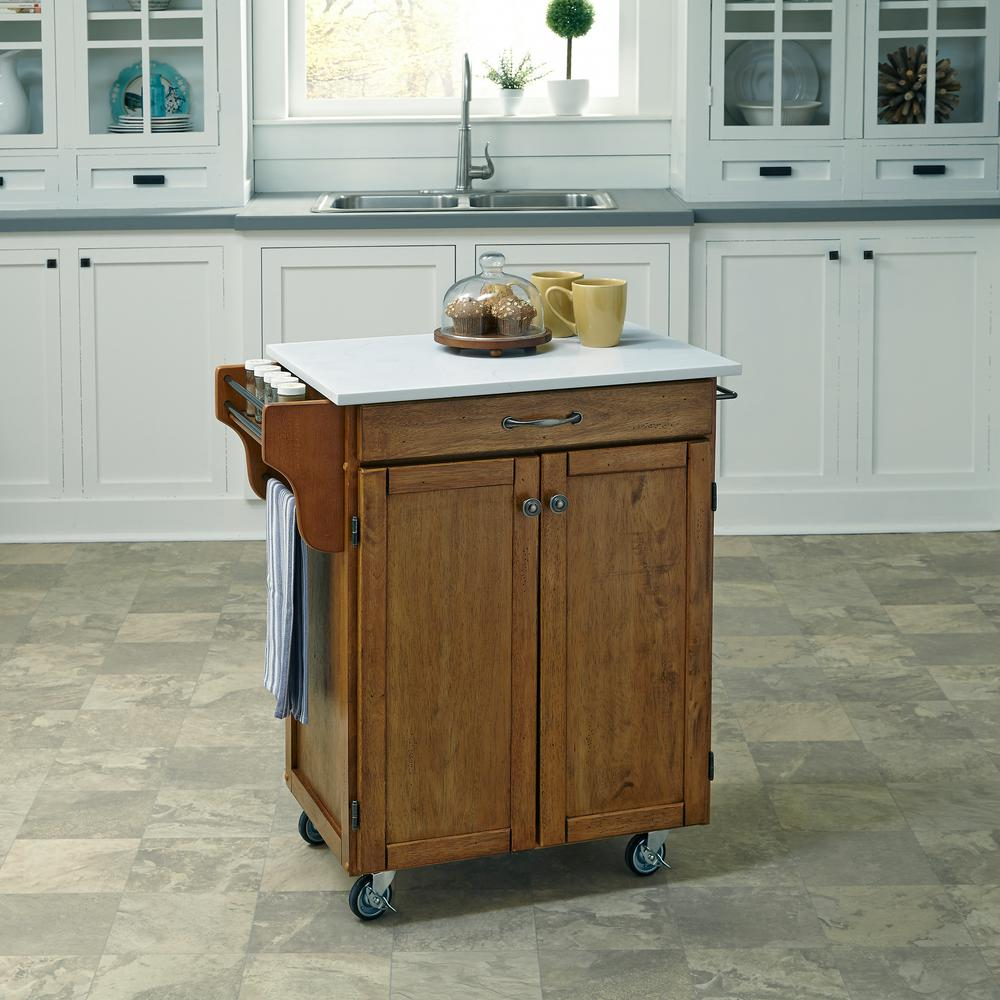 oak kitchen cart amish cabinets chicago home styles cuisine warm with quartz top 9001