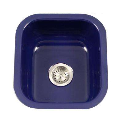 blue kitchen sink gray floor tile navy sinks the home depot porcela series undermount porcelain enamel steel 16 in single bowl