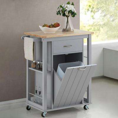 metal kitchen carts finance cabinets islands utility tables the home depot yonkers gray cart with wood top