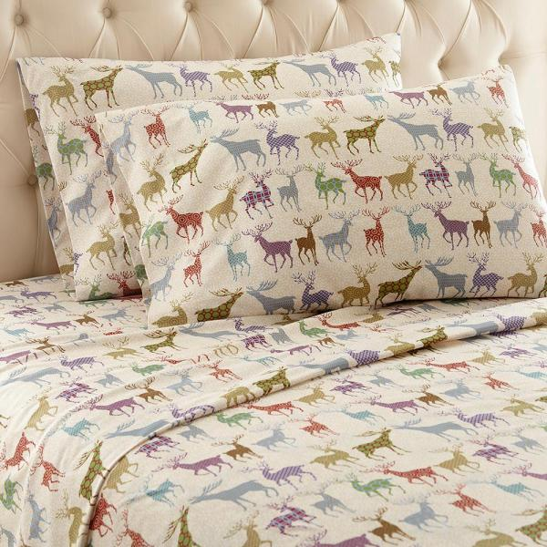 Micro Flannel 4-piece Colorful Deer Queen Polyester Sheet Set-mfnssqncfd - Home Depot