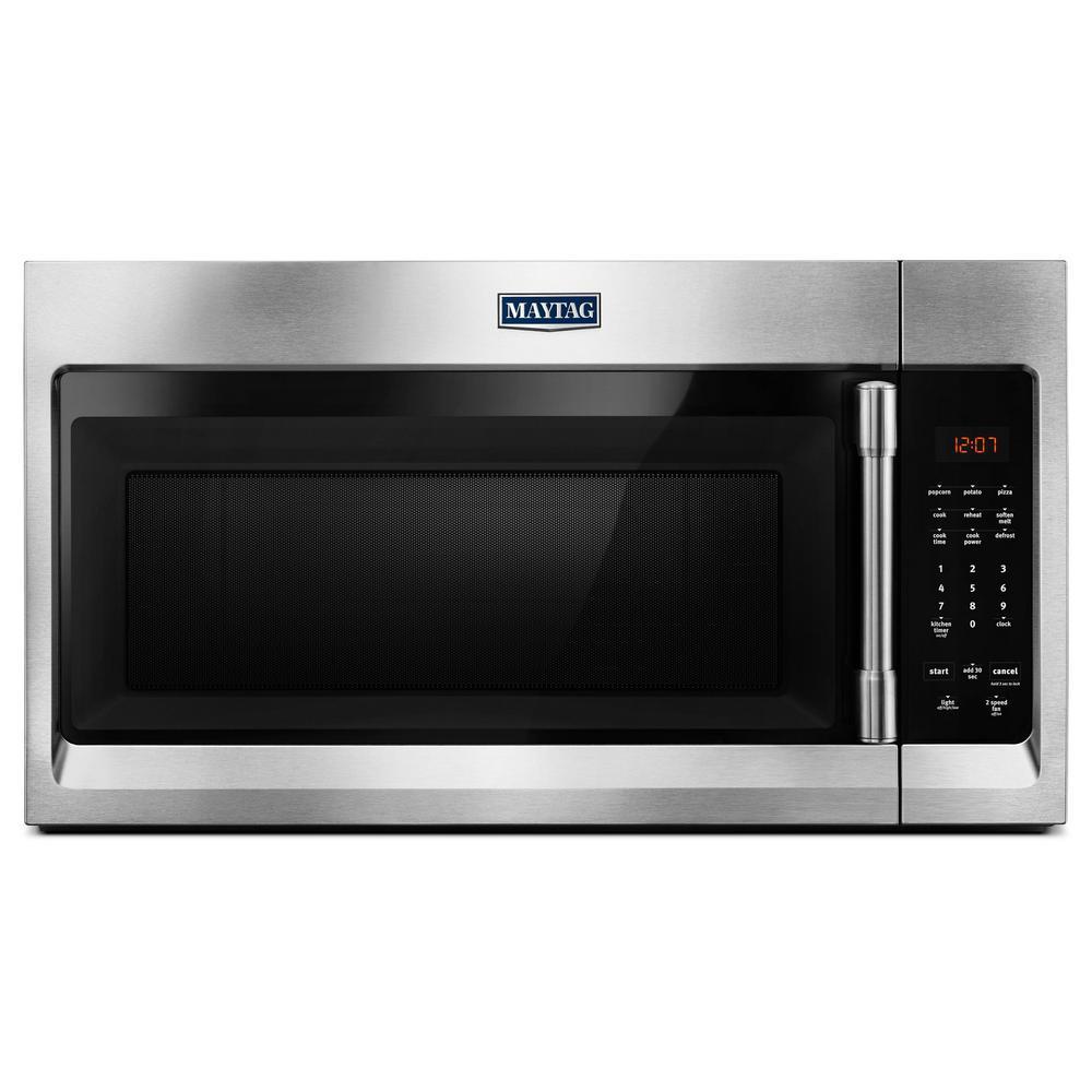medium resolution of maytag 1 7 cu ft over the range microwave hood in fingerprint resistant stainless steel