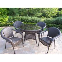 Oakland Living Elite Resin Wicker 5-piece Patio Dining Set