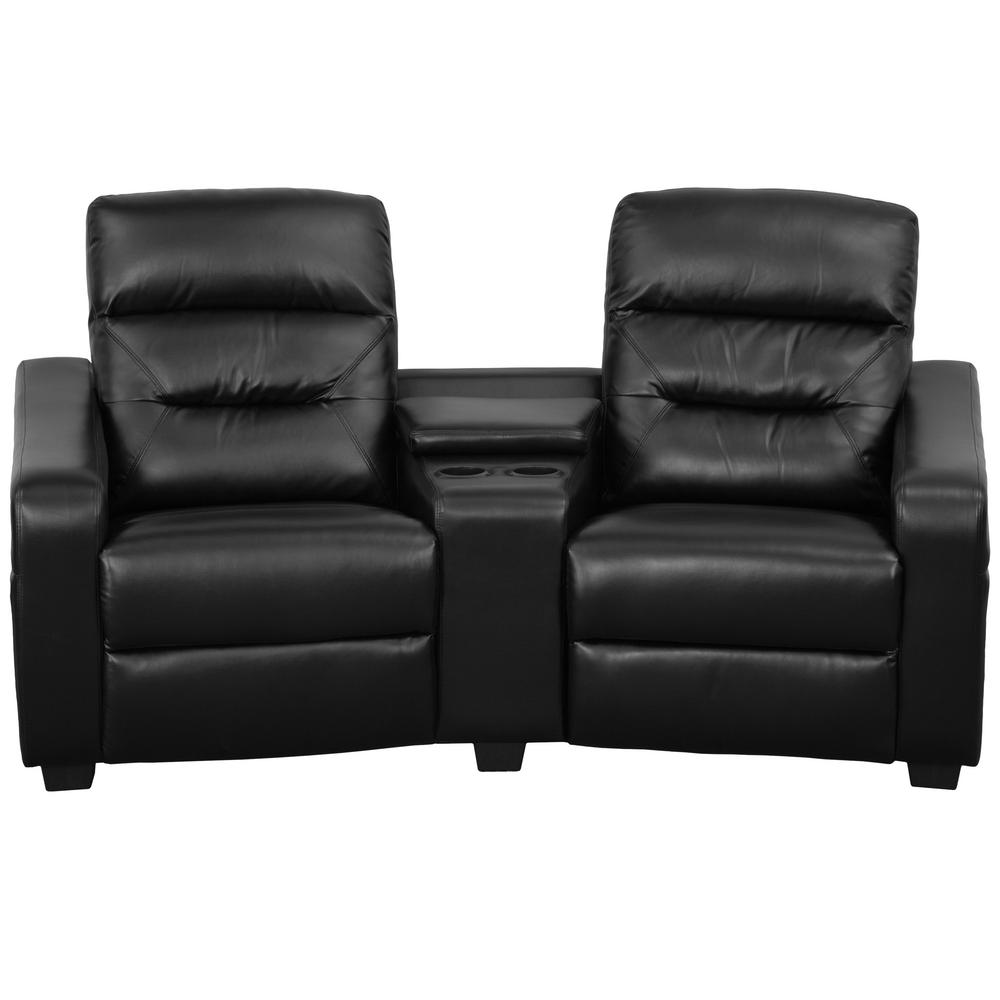 theater chairs with cup holders big and tall office without arms flash furniture futura series 2 seat reclining black leather seating unit bt703802bk the home depot