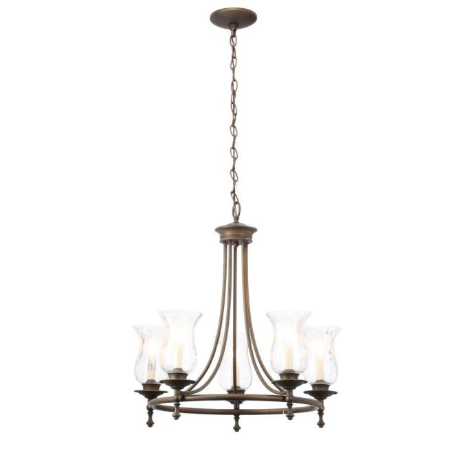 Hampton Bay Grace 5 Light Rubbed Bronze Chandelier With Seeded Glass Shades 14689 The Home Depot