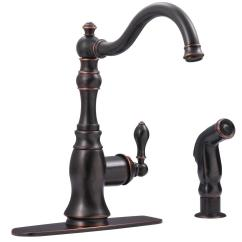 Oil Rubbed Bronze Kitchen Sink Spotlights Ultra Faucets Single Handle Standard Faucet With Side Sprayer In