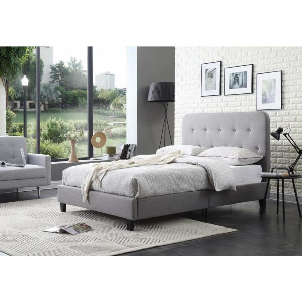 Hodedah Gray Full Size Upholstered Panel Bed With Tufted Headboard