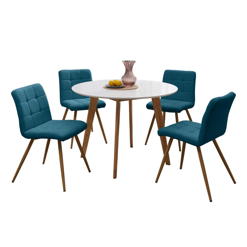 blue and white dining chairs revolving chair price in lahore handy living edgewater 5 piece set with topped round table armless upholstered peacock linen