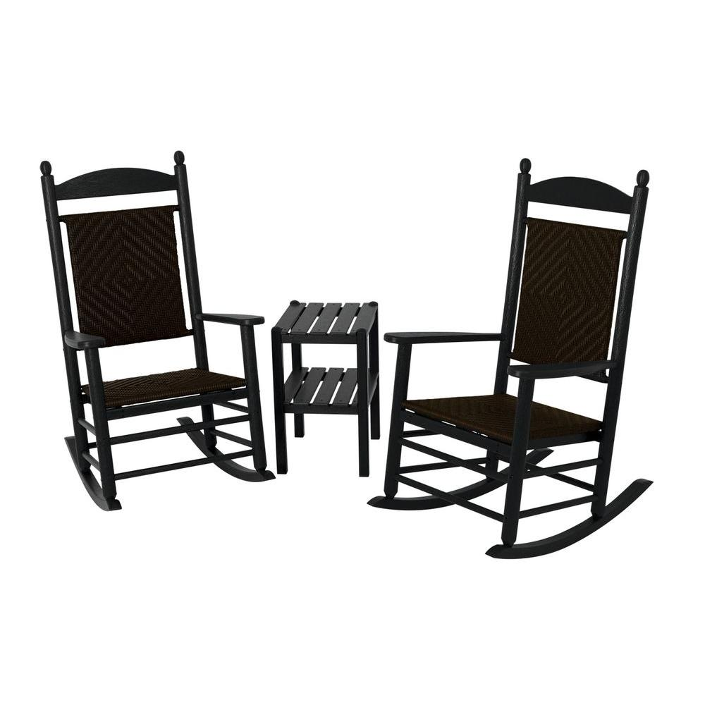 woven rocking chair luxury desk chairs polywood jefferson black 3 piece patio rocker set with cahaba weave