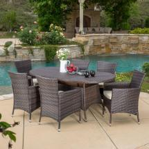 Noble House Dana Multi-brown 7-piece Wicker Outdoor Dining