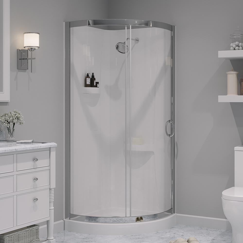 medium resolution of shower kit with reversible sliding door and shower base