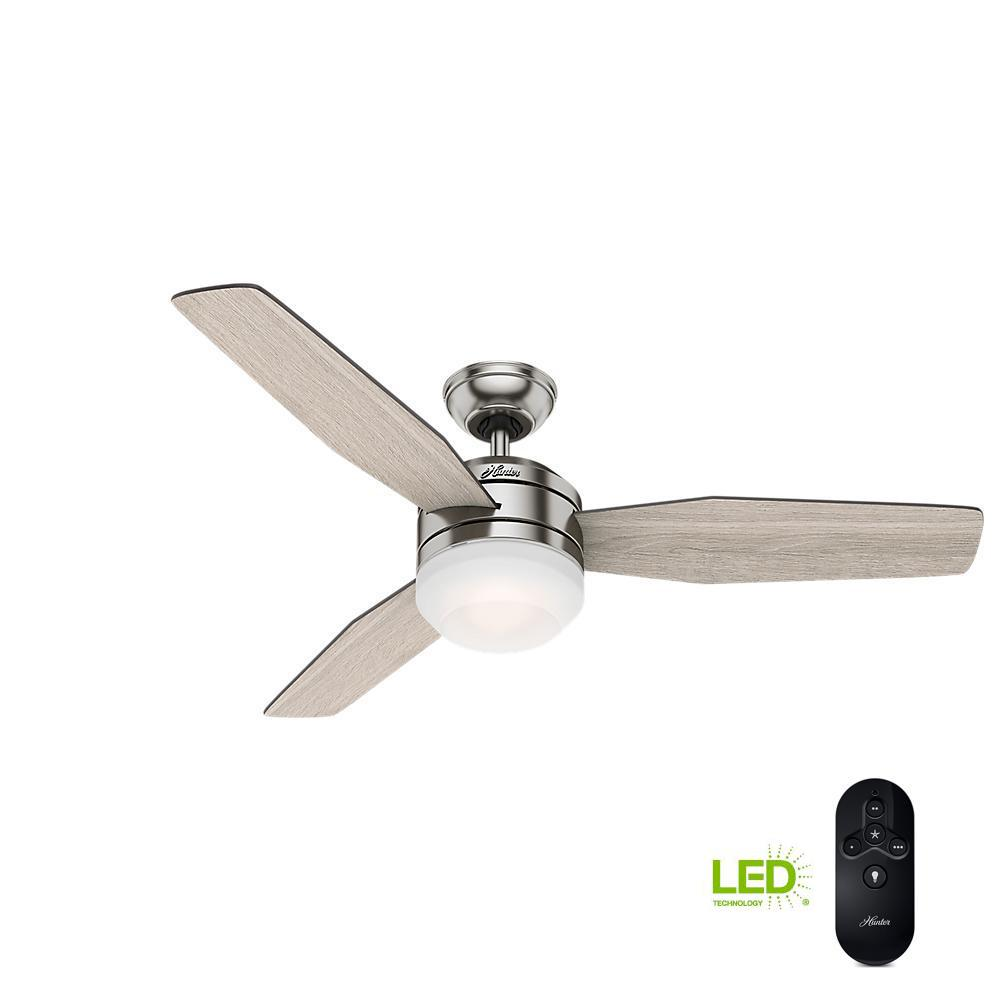medium resolution of hunter zilker 52 in led indoor brushed nickel ceiling fan with remote control
