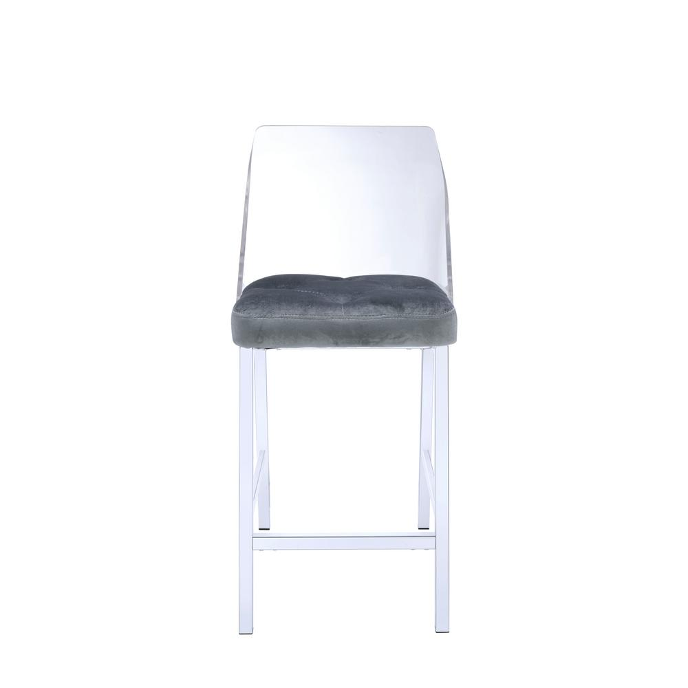 upholstered counter height chair lazy boy swivel chairs acme furniture nadie ii chrome acrylic and gray velvet