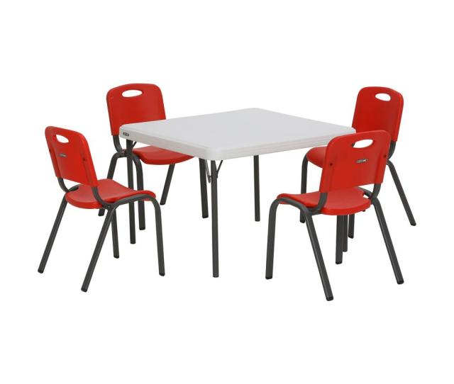 Lifetime 5 Piece Red And White Childrens Table And Chair Set 80556 The Home Depot