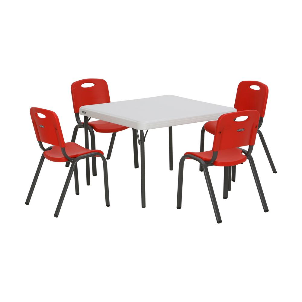 kids chair set bubble stand cheap lifetime 5 piece red and white children s table 80556