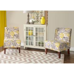 Side Chairs With Arms For Living Room Images 2018 Linon Home Decor Furniture The Depot Lily Gray And Yellow Polyester Chair
